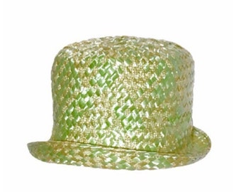 1960's Union Made Pastel Green Straw Vintage Women's Cloche Hat