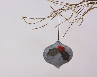 NIkkie's Felt Holly Christmas Ornament