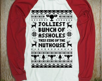 "New ""Jolliest Bunch of Assholes This Side of the Nuthouse"" Baseball Style Unisex Long Sleeved Shirts for Christmas, Griswold Family Fans"