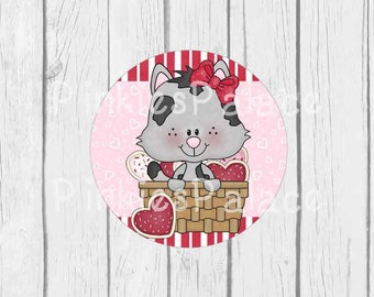 Valentine's Day Stickers Envelope Seals Cat Kitty Hearts Pink Red- SES355