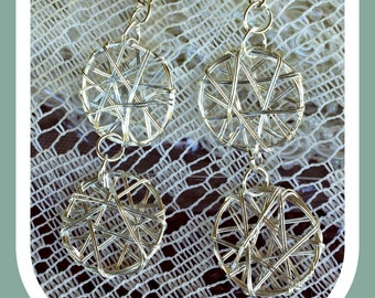 Silver Wire Wrapped Earrings - Wire Wrapped Earrings -  (Ready to Ship)