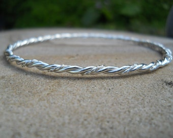 Sterling silver twisted wire bangle