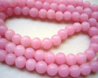 Vintage strand (100)  pink glass beads occupied Japan  - approx 6mm  rounds - approx 100 beads