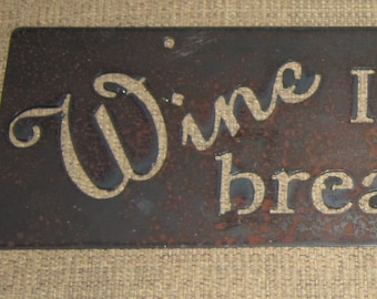 Wine-Not Just for Breakfast Anymore-Metal art-Wine Art-humor-Kitchen Art-Bar art