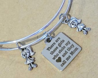 Bangle bracelet - charm bracelet - Mom and daughters - gift from daughter - Daughters - gift for her - gift to mom from daughters - children