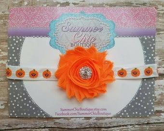 Orange Pumpkin Headband, Fall Headband, Infant Headband, Baby Headband, Newborn Headband, Girls Headband, Orange Baby Headband