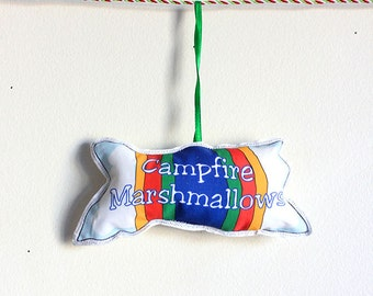 Ornament: tree decoration- Camping Christmas Ornaments-Marshmallows