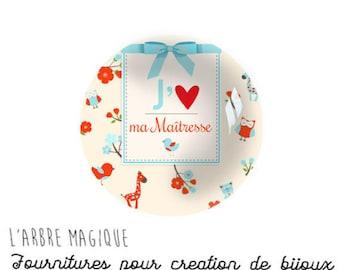 2 cabochons glue mistress love heart message glass 14 mm - N991