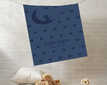 Custom Knit Baby Blanket   Boy in Moon Stars   Personalized Stroller Crib Blanket   Boy Name   Cashwool   Emji - BB017AVIOESTATE