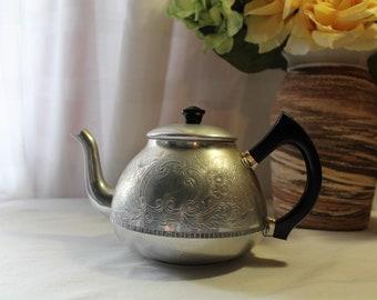 Vintage Swan Brand Carlton Ware Aluminum 4 Cup Tea Kettle, Teapot, England