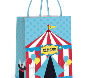 CIRCUS Surprise/Treat Bags 21.5cm x 15cm x 8cm Approx. 10 Pack-Circus Party Supplies-Circus Birthday Party-Carnival Theme Decorations