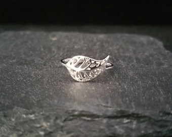 925 Sterling Silver Ornate Leaf Statement Ring Size L N Gift Wrapped