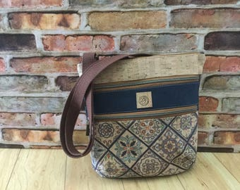 Cork, crossbody, triple zip, color block, bag, venetian tile, navy blue, vegan, ecofriendly