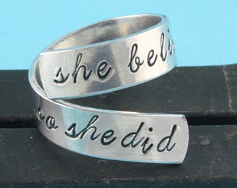 She Believed She Could, So She Did Ring - Wrap Ring - Twist Ring - Silver Ring - Encouragement Gift - Stamped Ring - Gift For Her - Size 7