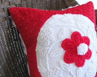red pillow cover, 14 X 14 inches, WHITE WREATH, red minky cushion cover Christmas pillow case, holiday chenille pillow sham, White Christmas