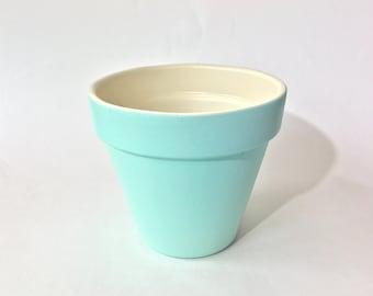 "Terra Cotta 6 Inch Flower Pot   Hand Painted Two Tone: Ocean Mist Aqua & Ivory   3"" Base / 6"" Top / 5"" Height   Garden Decor / Home Decor"