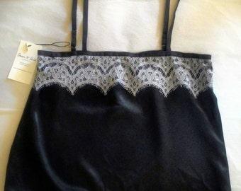 Black silk satin cami with white lace / nightie / top / silk camisole / silk sleepwear / silk black blouse /lingerie outwear erotic lingerie
