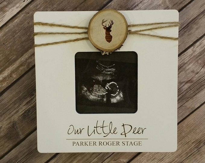 Our Little Deer - Personalized Photo Frame -   Baby Picture Frame - Ultrasound Picture Frame - Baby Gift
