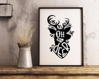 Oh my deer | Paper print poster, minimalist wall art decor, oh my dear, deer, forest animal, modern wall art, relative, cute, horns