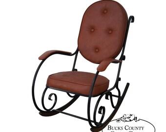 Carolina Forge Scrolled Metal Frame Tufted Woodland Rocker Rocking Chair