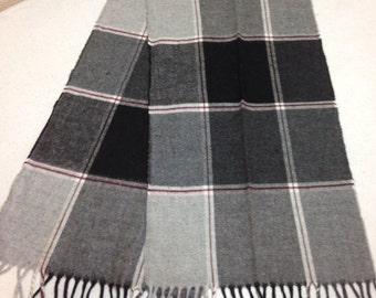 Vintage Gray and Black Plaid Winter Cashmink Scarf made in West Germany, 57 Inches Long and 11.5 Inches Wide Previously 25 Dollars ON SALE
