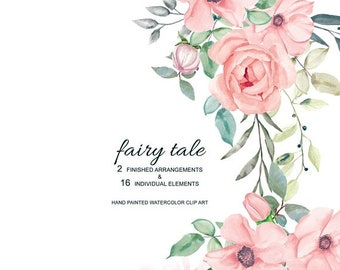 FLASH SALE Blush Watercolor Flowers & Leaves with Different Shades Clipart Separate Elements Hand Painted Commercial Use | S15 Fairy Tale
