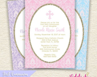 First Holy Communion or Baptism Invitation - Choose Color - Digital, Printable PDF or JPG Design - by Celebration Lane