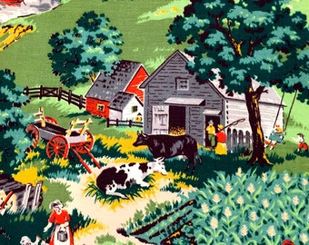 "Early 20th Century US Rural Farm Life Design Barkcloth Fabric with a Grandma Moses Vibe// Cotton Yardage// Upholstery// Home Decor//48""x 60"""