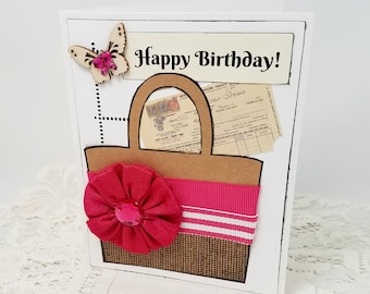 Pink Handbag Happy Birthday Card - Pink Girly Handbag Card - Happy Birthday Handbag Card - Girly Birthday Card - Blank Birthday Card