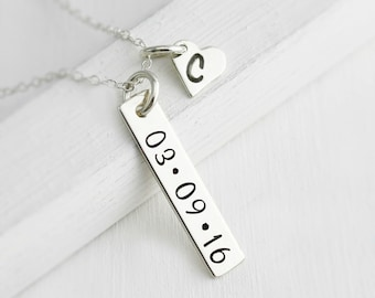 Date Bar Necklace - Sterling Silver Date Bar Necklace with Heart Charm Initial - Personalized Mothers Necklace - Mommy Jewelry - Baby Shower