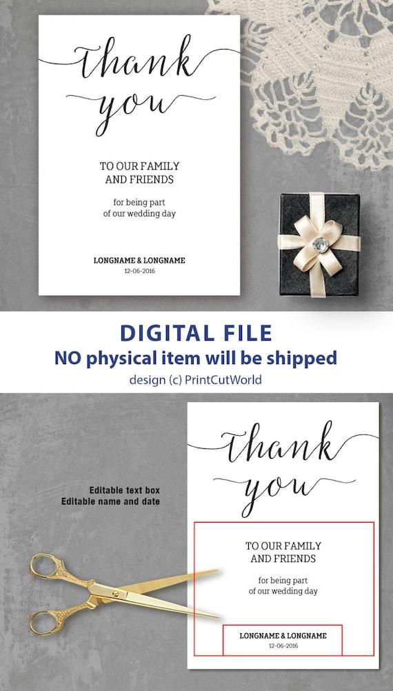 diy thank you sign template 5x7 classic wedding thank you card