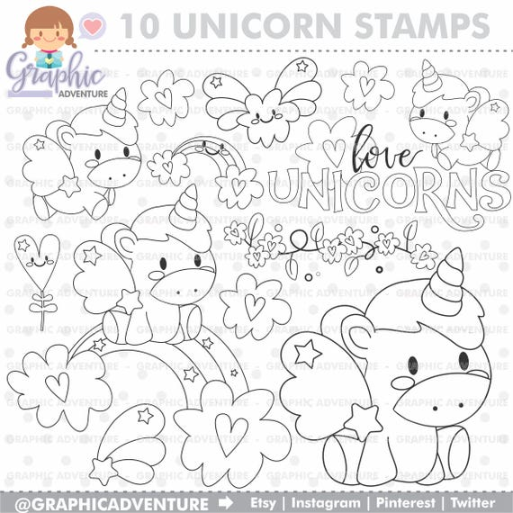 Unicorn Stamp COMMERCIAL USE Digi Stamp Digital Image