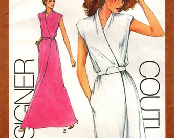 Simplicity 9518 Cathy Hardwick MOCK WRAP DRESS 1980 Designer Couturier Size 10