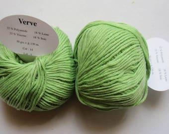 6 balls of viscose, wool, silk green Verve 14