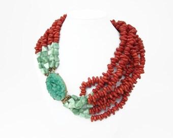 RARE Kenneth Jay Lane KJL Faux Jade Coral Vintage Multi Stand Necklace