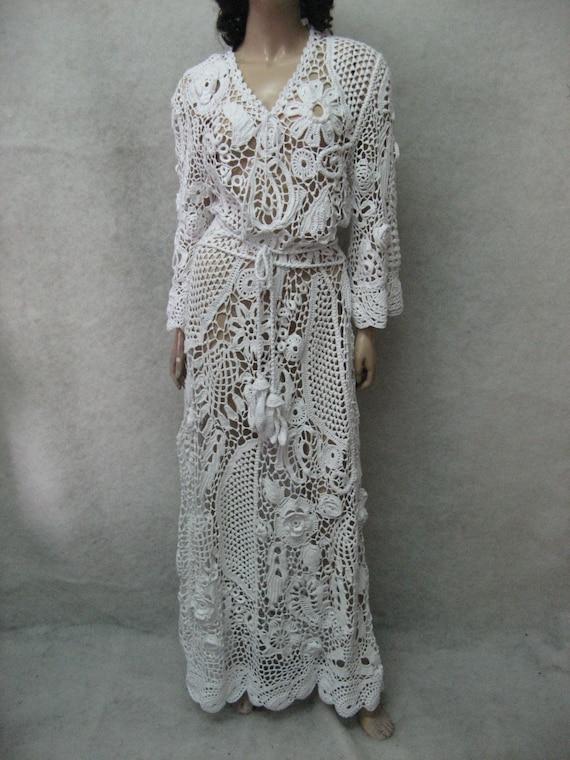 white dress lace Dress irish Crochet wedding dress crochet dress wedding garment Handmade handmade maxi Wedding cotton Crochet Bridal Beach nf4WqBIEP