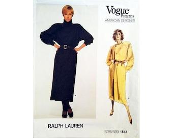 "UNCUT Vogue American Designer 1643 Ralph Lauren Vintage 80s Cowl Funnel Neck Dress Sewing Pattern Size Bust 34"" UK 12"