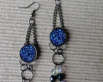 Handmade Druzy blue earrings