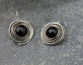Black Onyx sterling silver Circle Earrings. Swirl of Silver Wire around stone. Black jewerly. Gift for her.