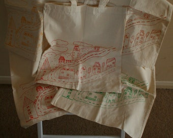 Screen printed tote bags