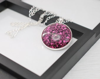 Pink and Black Necklace, Pink Glitter Necklace, Black and Pink Necklace, Glass Pendant, Gift for Her, Pink Necklace, Black Necklace