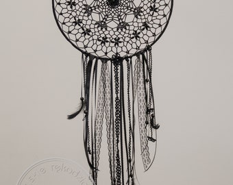 Tulip 30 cm - hand crocheted dream catcher, Shabby chic wall decoration, Boho wedding decor, Bohemian bedroom decor, Baby shower