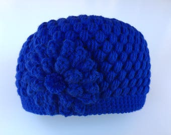 READY TO SHIP/Blue/Royal Blue/Crochet/Knit Hat/Beanie/Cap/Warm/Thick Chunky/Winter Hat/Flower Hat/Adult/Women/Ladies/Girls Hat/Gift for Her