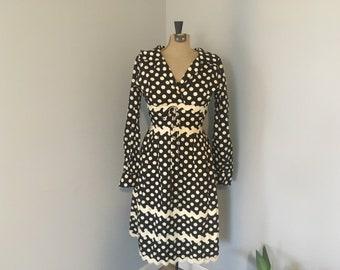 1960s Lillie Rubin Mod Polka Dot Tie Waist Lace Up Dress