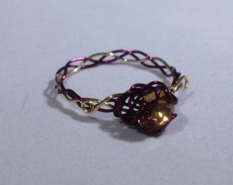 Burgundy and Gold Wire Ring