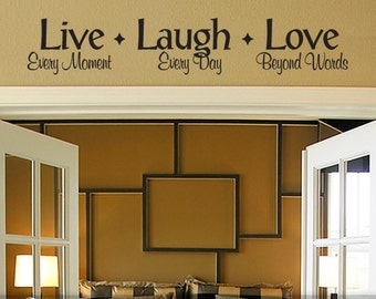 Live Laugh Love Decal: Wall Decor Live Laugh Love, Wall Decal Quote, Bedroom Decor, Wall Quote (177b3v)