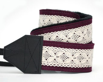 Camera Strap - Lace Camera Strap-  DSLR Camera Strap - Graduation Gift - Camera Accessories - Photographer Gift - Plum Linen & Lace