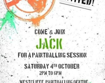 Printed Personalised Paintball Birthday Party Invitations x10