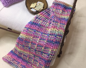 Shabby Chic Handmade Miniature Dollhouse Small Bed Throws - Hand Knitted  - Pink/Blue Multi