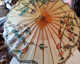 Paper parasol, Chinese theme, birds